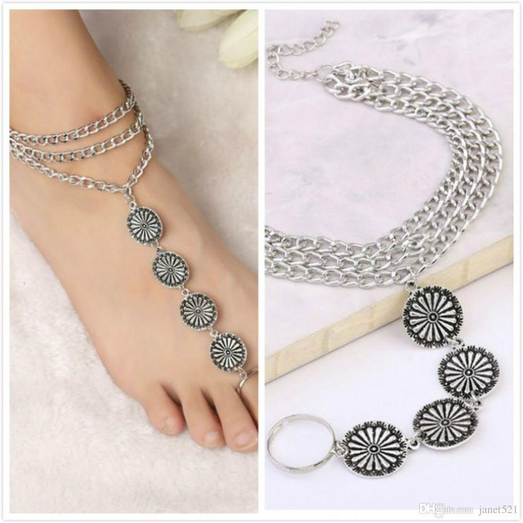 2017 Vintage Bohemian Womens Jewelry Silver 3 Layered Tassel Round Engraved Plate Anklets Boho Anklet Bracelet Barefoot Sandles From Janet521, $1.31   Dhgate.Com
