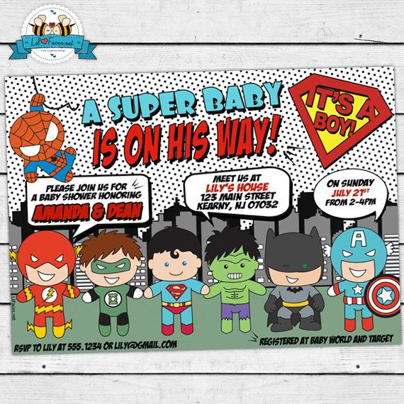PRINTABLE Pop Art Superhero Baby Shower Cute Invitation - Invite Card - Marvel Comics Personalized invitation - Super hero Boy Baby Shower on Etsy, $14.95