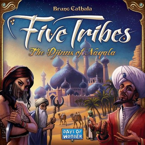 Crossing into the Land of 1001 Nights, your caravan arrives at the fabled Sultanate of Naqala. The old sultan just died and control of Naqala is up for grabs! The oracles foretold of strangers who would maneuver the <b>Five Tribes</b> to gain influence over the legendary city-state. Will you fulfill the prophecy? Invoke the old Djinns and move the Tribes into position at the right time, and the Sultanate may become yours!