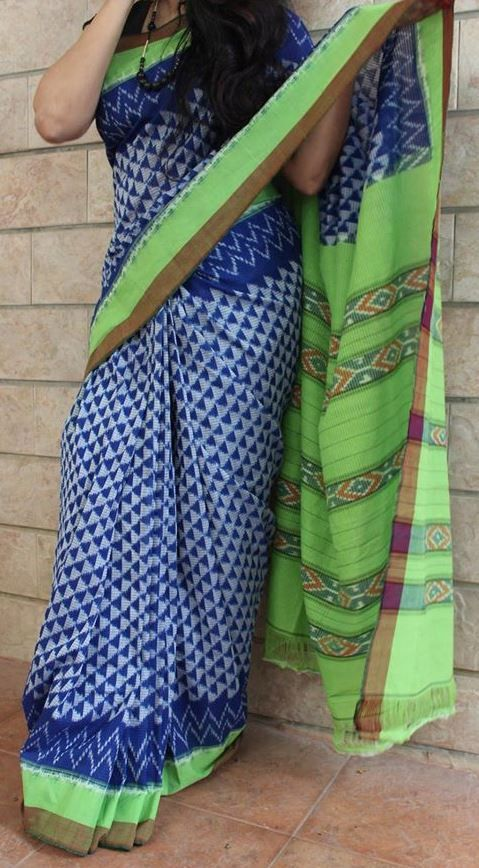 Android Green with Imperial Blue Handwoven Pure Pochampally Ikkat Sare – EthniQ