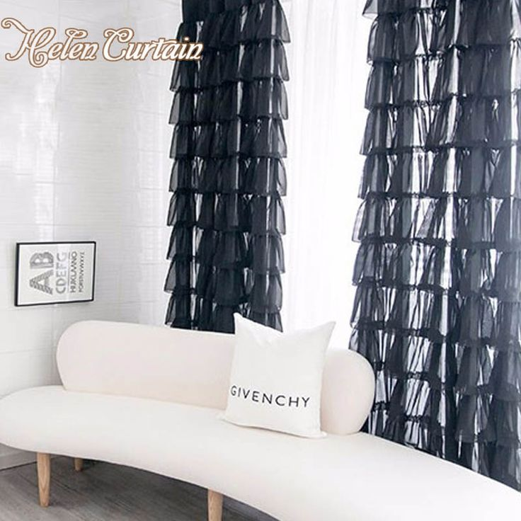 Helen Curtain Modern Cupcakes Dress Black Tulle Curtain For Living Room Black Voile Girl Room Sheer Curtain Window Treatments  #Affiliate
