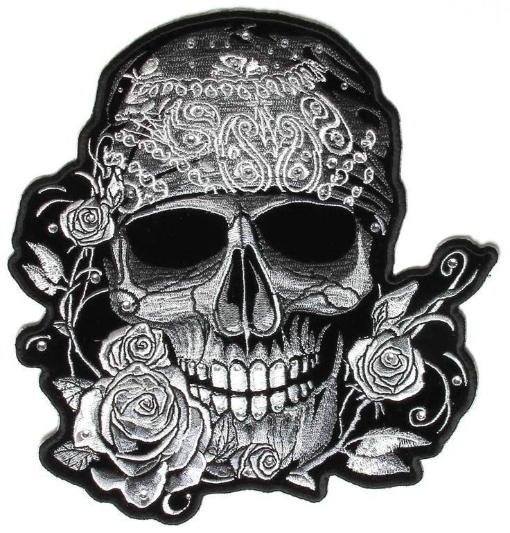 Gray Bandana Skull Patch with Roses and Rhinestones $36
