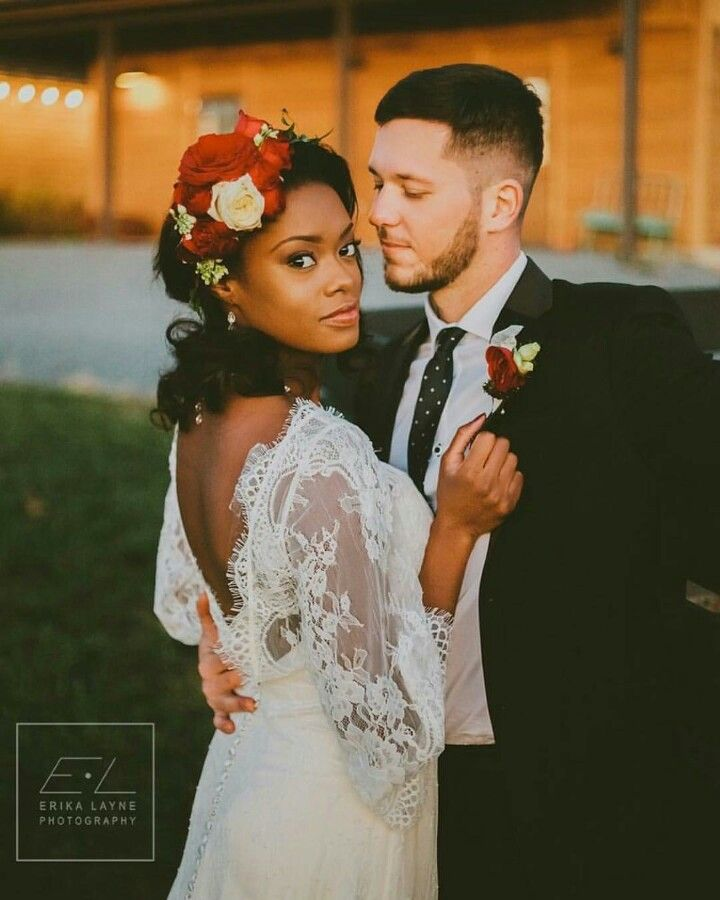 Gorgeous interracial couple on their wedding day #love #wmbw #bwwm                                                                                                                                                      More