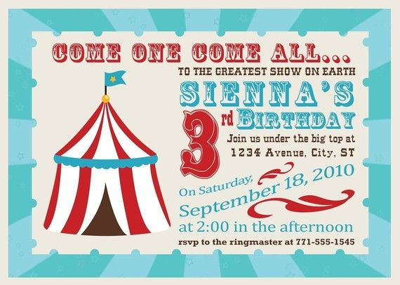 18 best bday party images on Pinterest Circus party, Birthdays - circus party invitation