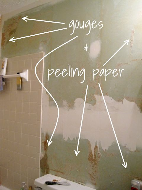 gouges and peeling paper after wallpaper removal-- for that bathroom redo that NEEDS to be redone!