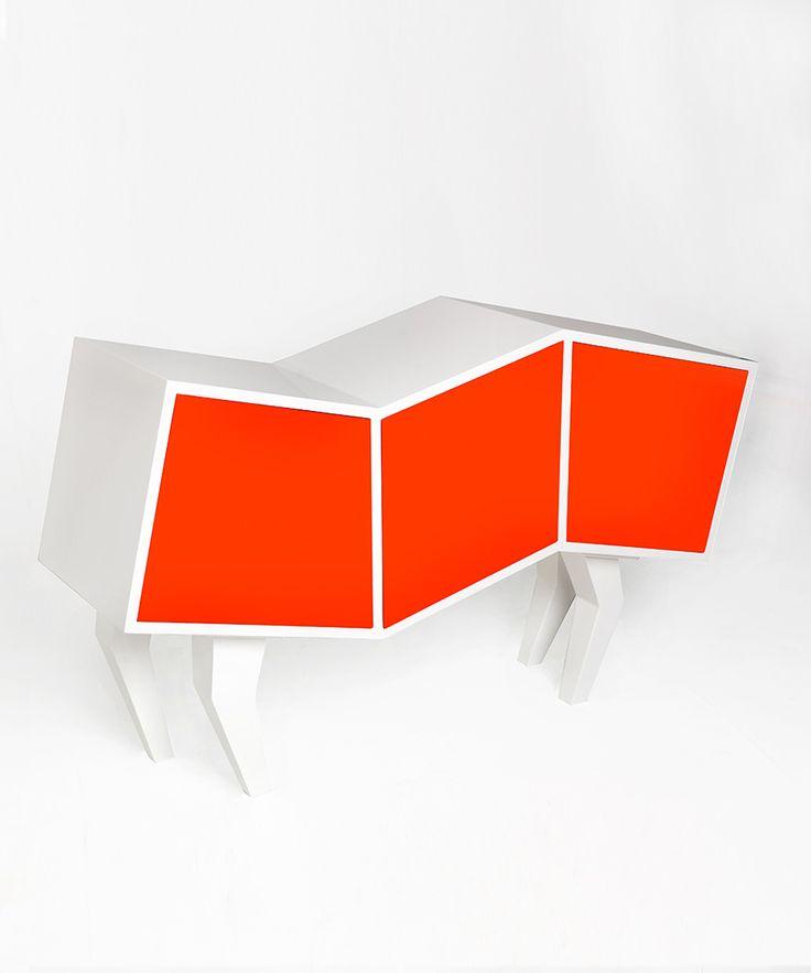 Orange Sideboard Optical Illusion #design #storage