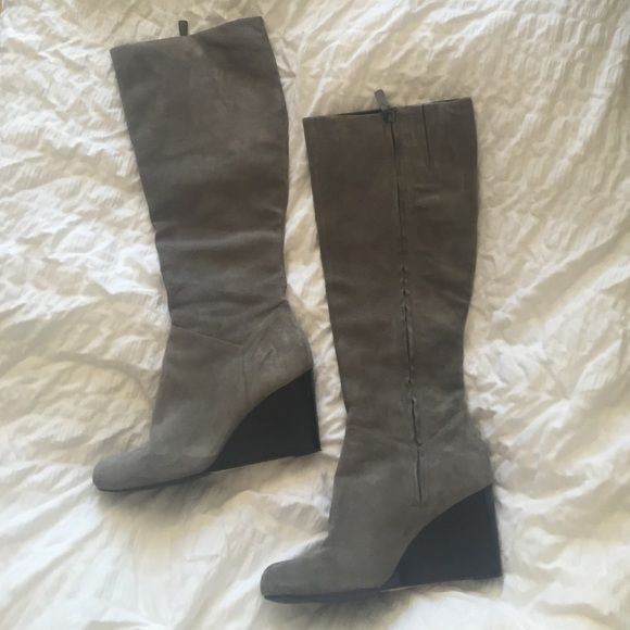 "Cole Haan Nike ""Cora"" gray suede boot Beautiful soft gray suede. Nike air technology  comfortable. Leather lining, leather sole. 3 inch wedge heel. 18 inches high. Very good condition. Size 8. Sophisticated and stylish. Cole Haan Shoes Heeled Boots"