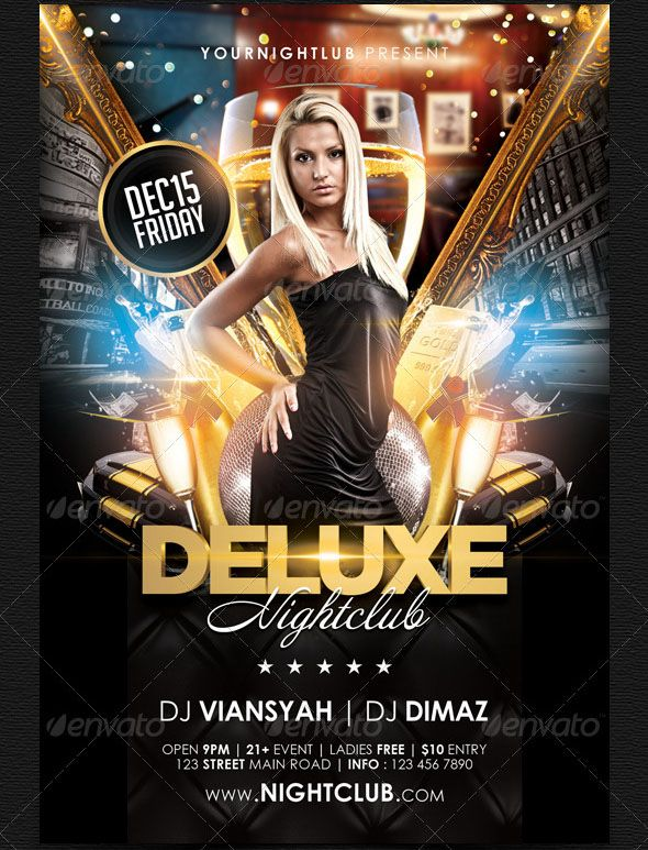 """Deluxe Nightclub Flyer Template Deluxe Nightclub Flyer Template Specification : Size 4×6 inch ( .25 inch bleed area ) Print Ready ( CMYK, 300DPI ) Easy to edit and fully customizable Include font download link and help file """"USER GUIDE"""" to customise Organised and Detailed Layers The files contains groups that are color coded and properly labelled All text are editable LINK MODEL PHOTO INCLUDED IN """"USER GUIDE"""