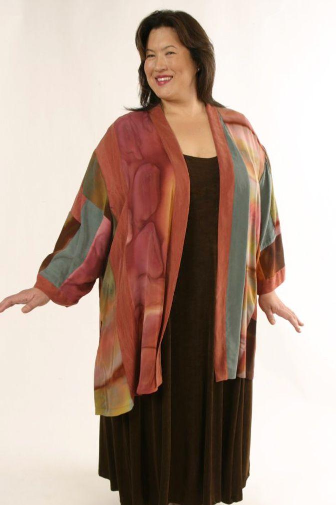 4665e4d3e6e Special Occasion Kimono Jacket Silk Artwear Caramel Sage Size 26 28 SHOP NOW   Unique