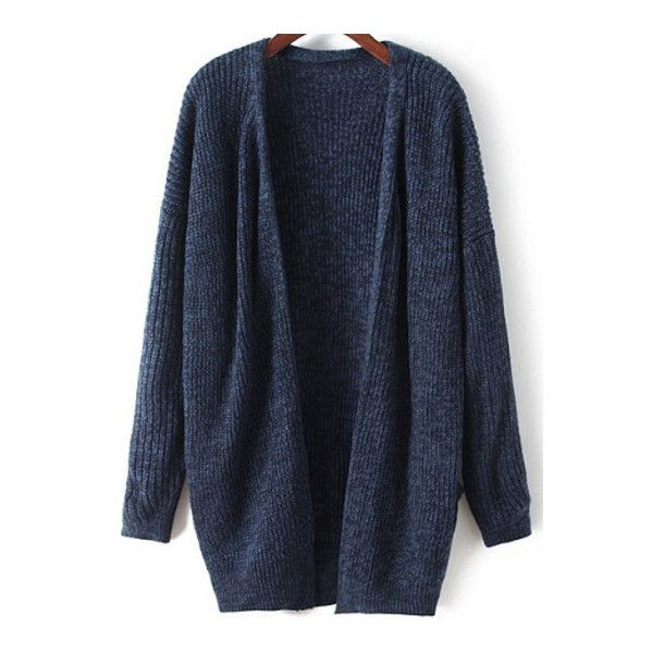 SheIn(sheinside) Navy Long Sleeve Loose Knit Cardigan ($31) ❤ liked on Polyvore featuring tops, cardigans, outerwear, jackets, sweaters, navy, navy knit cardigan, navy blue knit cardigan, blue top and loose cardigan
