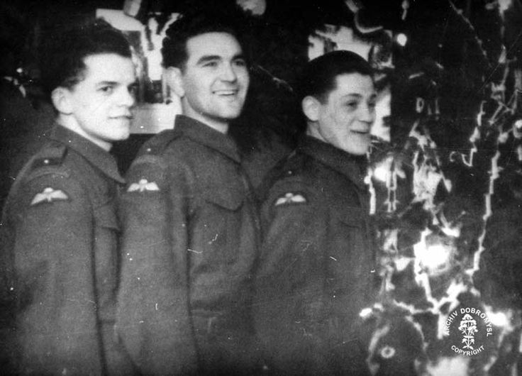 Christmas 1941 at the Communication Platoon of the 2nd Batallion. From left standing: Oldrich Dvorák, Jaroslav Klemeš (last living paratrooper air-dropped to the Protectorate) and Ludvík Cambala. This would be the last Christmas for Oldrich Dvorák, a future parachutist of Operation STEEL.