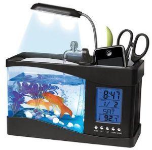 aquarium usb avec eau coulante et filtre et clairage led support tlphone smartphone station mto - Lit A Eau Avec Poisson