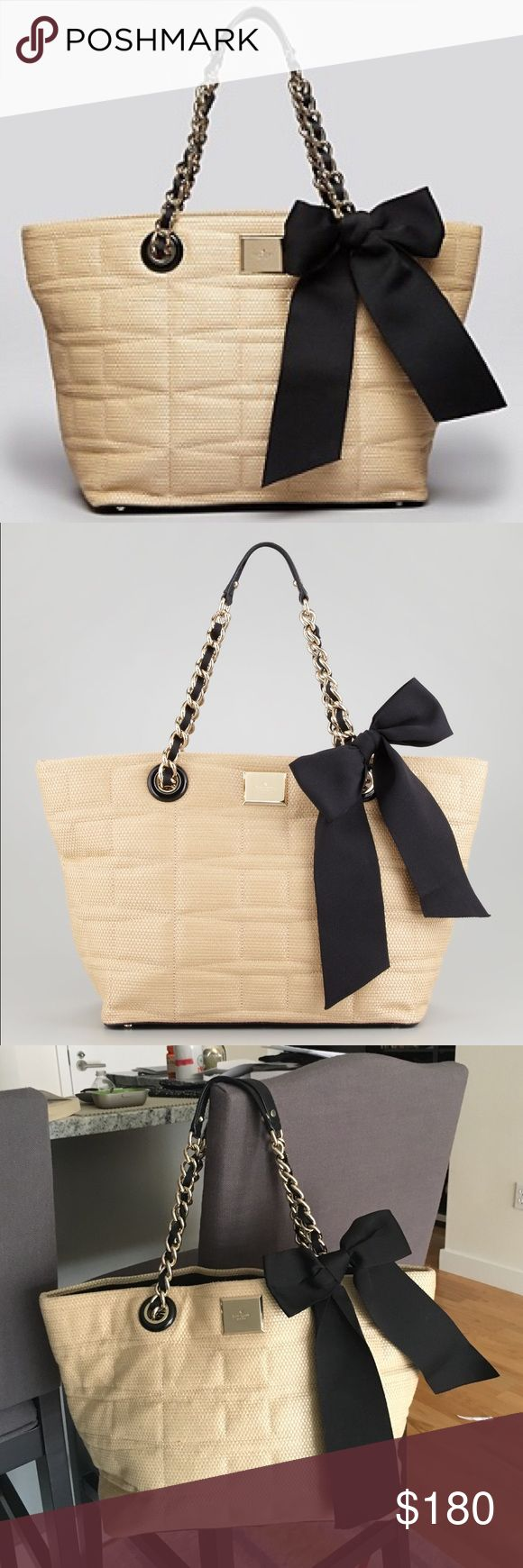 """Women's Natural Small Straw Coal Tote Bag Used in perfect condition. Clean outside and the inside has some ink marks.                      Quilted woven straw with contrast grosgrain accents. Golden hardware. Woven chain shoulder straps pull through grommets; 8"""" drop. Large bow detail on left side. Signature logo plate to top center. Snap top for easy, on-the-go access. Inside; logo jacquard lining; one zip and two open pockets. 11""""H x 18""""W x 6""""D; bag weight: 2lbs. Imported. kate spade Bags…"""