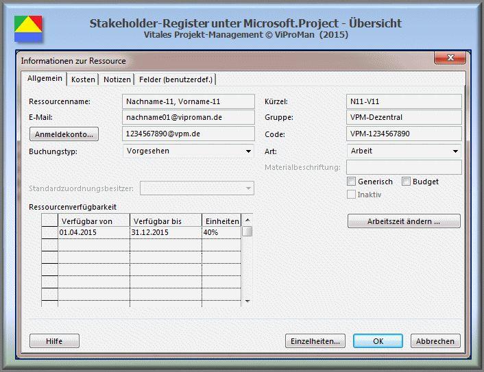 Quantitative Stakeholder-Analyse - Microsoft.Project (I) (http://www.viproman.de/stakeholderregister-project-pma-01.html). Die Stakeholder-Analyse wird durchgeführt, um alle Personen systematisch zu dokumentieren, die von den Ergebnissen eines Projekts betroffen sind. Dieser Beitrag beschreibt, in welcher Form die Anwendung Microsoft Project zur Erstellung eines Stakeholder-Registers genutzt werden kann. Diesen und andere Beiträge erhalten Sie unter http://www.viproman.de.