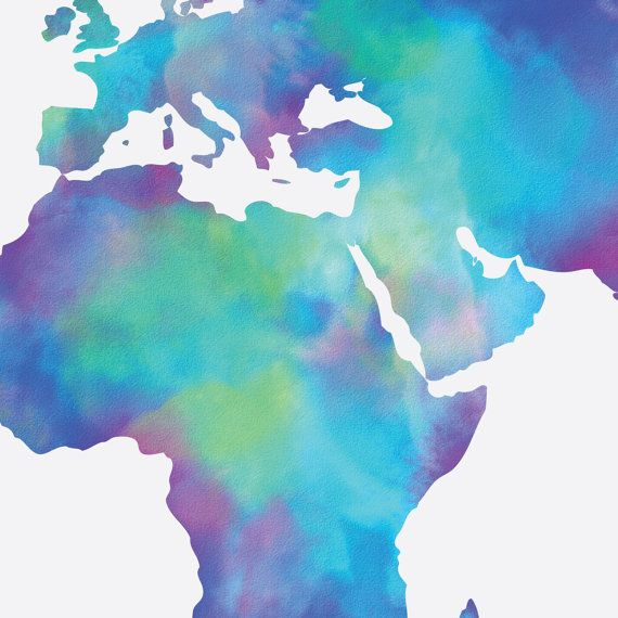 Watercolor Map of the World in Navy Blue Indigo Teal Cobalt
