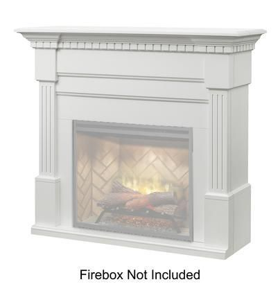 """Christina BuiltRite Collection BM3033-1801W 57"""" Mantel with Fluted Columns Carved Dentil Moldings and Crown Molding in White"""