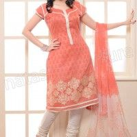 Natasha Couture Peach and White Cotton Patch Worked Salwar Kameez