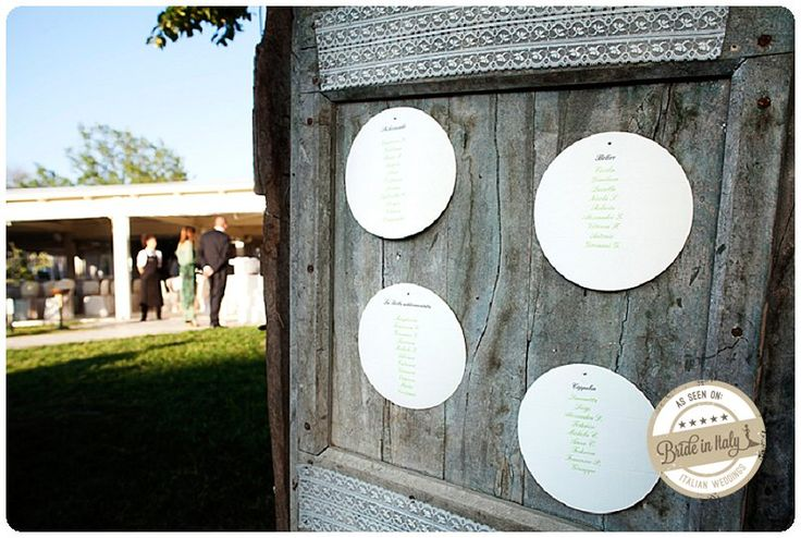 An old wooden door, cardboard and lace for a rustic seating chart. Lovely. Ph Purewhite Photography http://www.brideinitaly.com/2013/10/purewhite-umbria.html #diy #italianstyle #tableau
