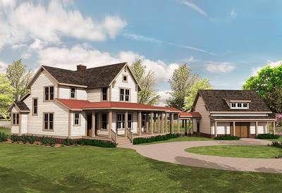 Plan 500018vv Quintessential American Farmhouse With Detached Garage And Breezeway Farmhouse