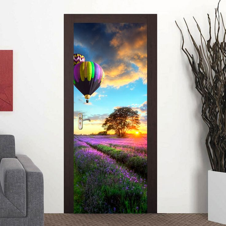 ==> [Free Shipping] Buy Best Home Creative DIY 3D Door Wall Stickers Lavender Flower Field Hot Air Balloon Pattern for Home Door Wall Decoration Sticker Online with LOWEST Price | 32794185153