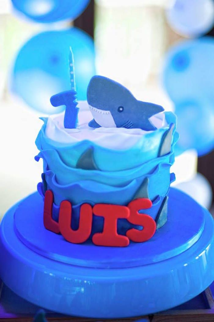 Shark cake from a Surfing Birthday Party on Kara's Party Ideas | KarasPartyIdeas.com (29)