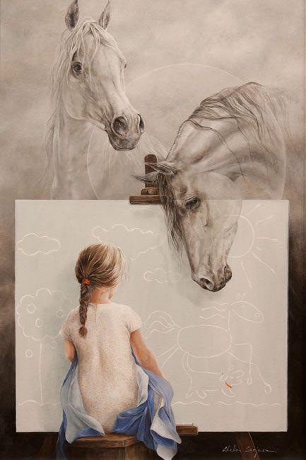 Angle d'artArtists, Little Girls, Dreams, Horses, Childhood Memories, Chelin Sanjuan, Chelìn Sanjuan, Drawing, Sanjuan Piquero