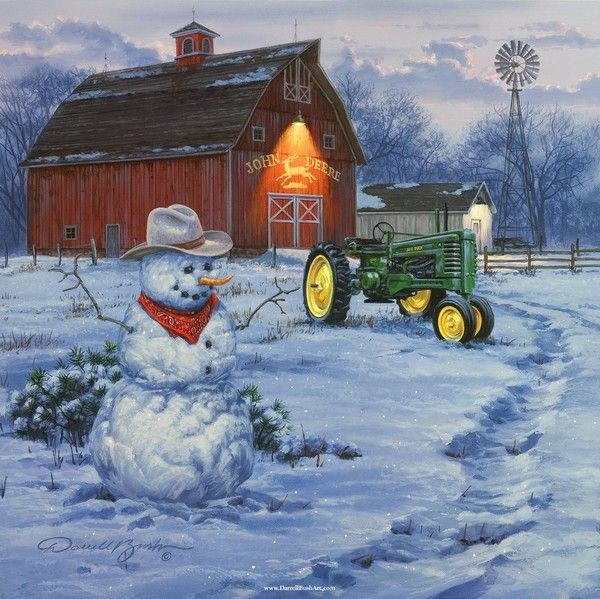 DARRELL BUSH ~ what could be better, a barn, a John Deere tractor, a windmill, and a snowman.