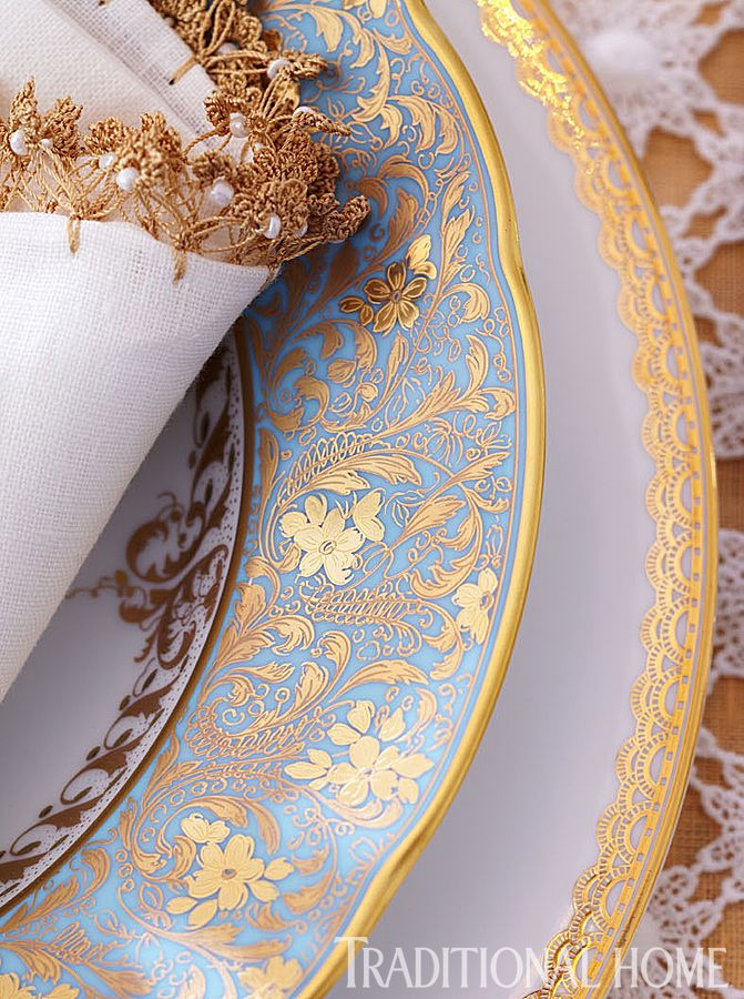 """Eden Turquoise"" Limoges porcelain soup bowl from Bernardaud. It's beautifully paired with a bone china ""Lismore Lace"" service plate from Waterford. Formal Spring Luncheon 