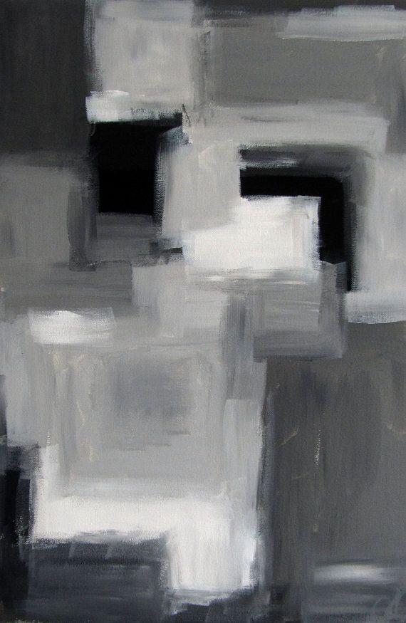 """N ° 82 - moderne abstrait peinture 16 « x 24 » 3/4 """"la profondeur de l'ordinaire en toile - noir, gris et blanc"""