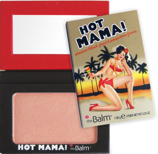 The Balm Hot Mama Blush A pretty peachy pink with a little highlighter to illuminate the cheek bones. You can also use it as an eye shadow for a subtle shimmer on your lids.