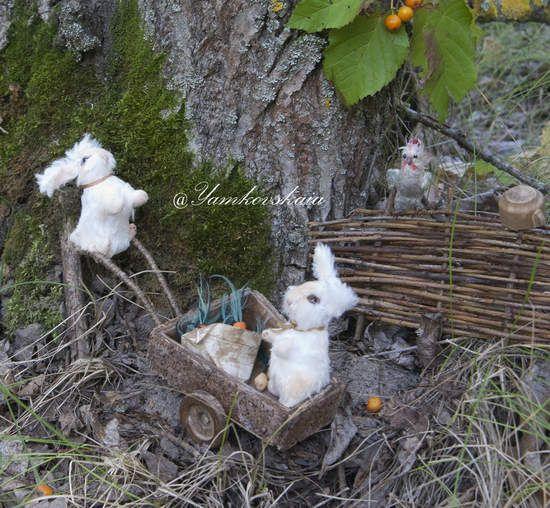 Bear Ramunas and rabbits by By Yamkovskaia Marina | Bear Pile