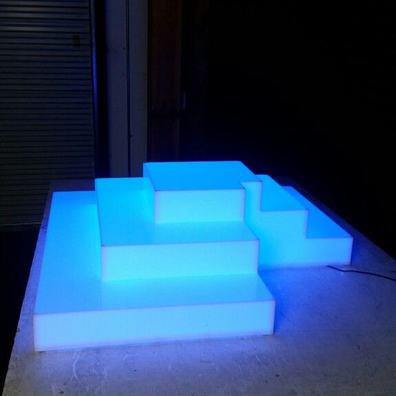 Custom Pyramid Shelf That Lights Up But Made To Fit A Column. Order Now At