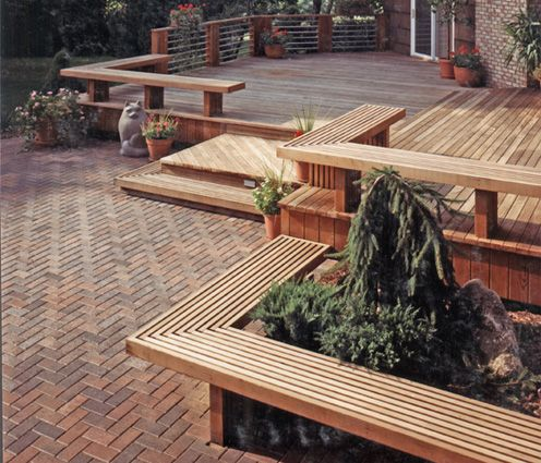 Decks/ Patio Transitions With Integrated Planters And Seating