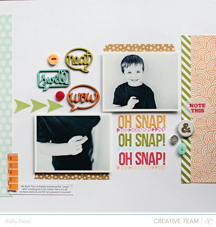 Oh Snap - Studio Calico Front Row Kit - Kelly Noel- speech bubbles inked with Prima Chalk Inks