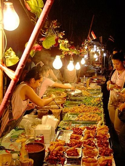 It doesn't get more authentic than this: food from the night markets in Chiang Mai, Thailand