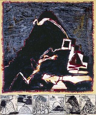 Pierre Alechinsky, Terril VIII, 2006, acrylique et encre avec prédelle
