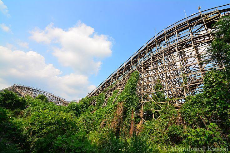 "Mostly overgrown wooden rollercoaster ""Aska"" at the abandoned Nara Dreamland [1200*800] [OC] [OS]"