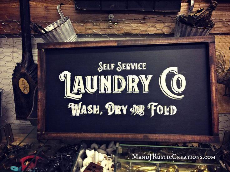 Wood Laundry Sign    Black Chalkboard Style