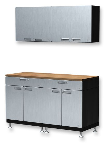 With This 11 Piece Powder Coated Silver Steel Cabinet Set, You Can Have The  Upper Storage And Lower Storage In All Sorts Of Environments, It Can Work  Well I