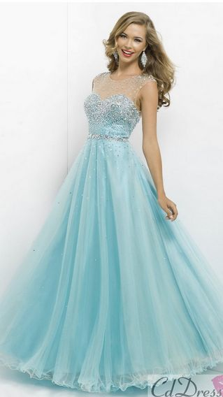 LIGHT BLUE, POOFY, SPARKLY AND HAS STRAPS ....... MY TOTAL DREAM PROM DRESS