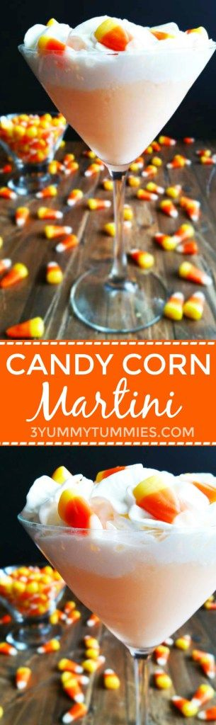 Candy Corn infused vodka makes this drink a fun orange color for Halloween!