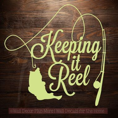 Keeping it 'Reel' fishing rod, reel, line, and fish vinyl decal