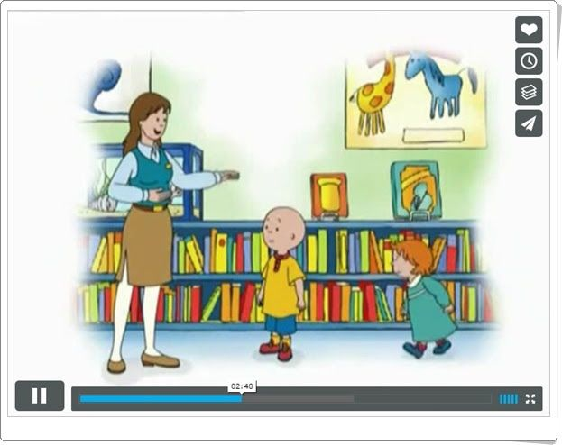Caillou bibliotecario (Vídeo de animación a la lectura)
