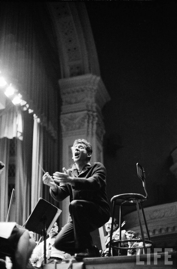 Alfred Eisenstaedt, Leonard Bernstein conducting Mahler's Second Symphony during a New York Philharmonic rehearsal at Carnegie Hall, 1960.