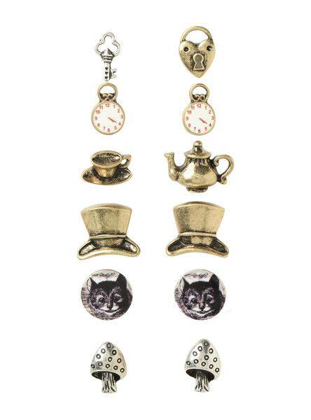 6 Pair SET Alice in Wonderland Stud Earrings