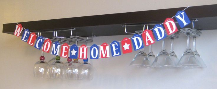 Welcome Home Daddy Banner Military Garland Custom Name Red White and Blue Navy Army Marines Coast Guard by AshleyAnnaMarie on Etsy https://www.etsy.com/listing/178399064/welcome-home-daddy-banner-military