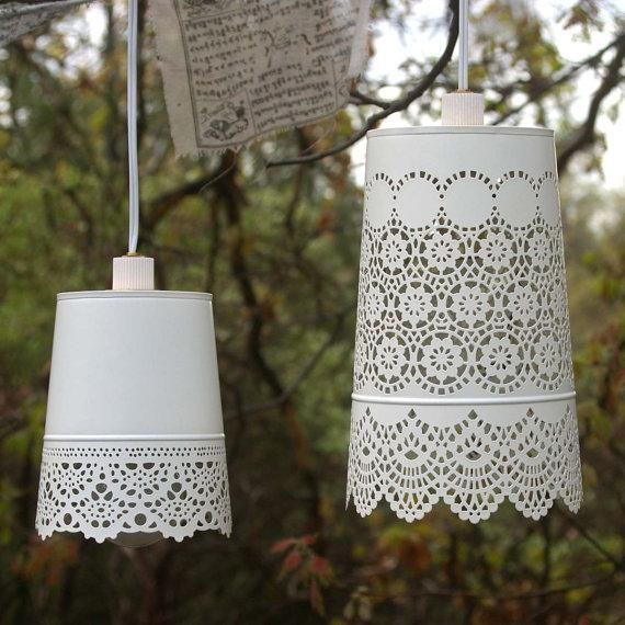 Cottage Style Kitchen Lighting: Hanging Lamp, Shabby Chic Style White Lace Lamp