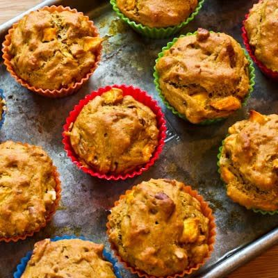 Low Sugar and Whole Wheat Peach Pecan Muffins