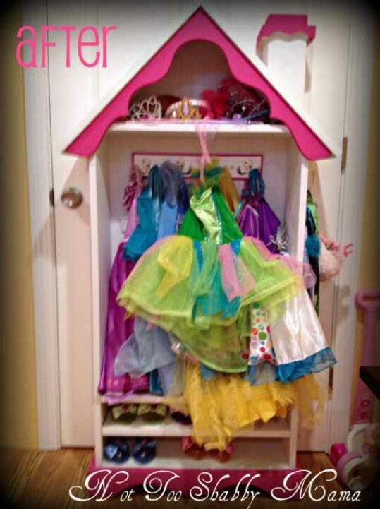 Dress Up Storage Closet Made From Old Bookshelf · Little Girls ...