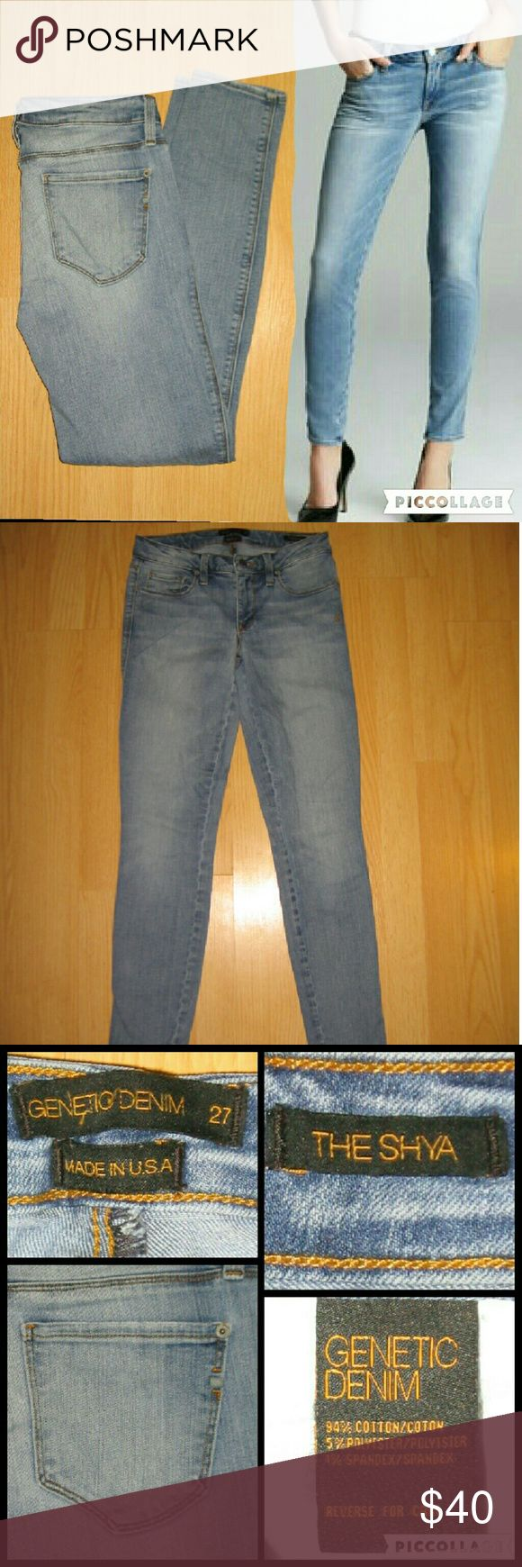 """Genetic Denim Shya Skinny Jeans in Cambridge These jeans are preloved but still in very good condition. They are the Shya Cigarette Skinny jean in Cambridge wash. Made of 94% cotton 5% polyester 1% spandex. Tag size is 27.  Waist across with natural dip is 14"""" Waist across when aligned is 14.5"""" Front Rise is 7.5"""" Inseam is 29.5"""" Genetic Denim Jeans Skinny"""